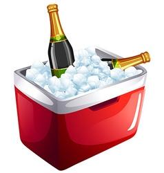 Wine bottles in ice bucket vector image