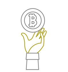 yellow line bitcoin electronic currency with hand vector image