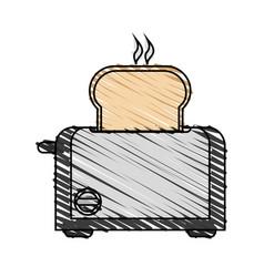 Color crayon stripe cartoon electric bread toaster vector