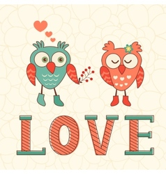 Cute card with two owls in love vector image