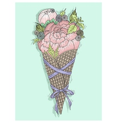 Flowers bouquet in ice cream cone with ribbon vector image vector image