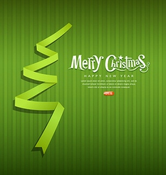 Merry Christmas origami green ribbons paper vector image vector image