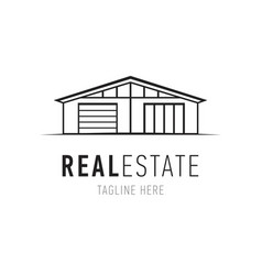 real estate logo design template house vector image