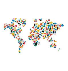 social media network world map icon shape concept vector image vector image