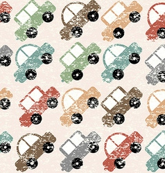 Vintage background with cartoon cars vector image