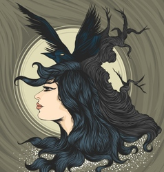 Woman with crow vector