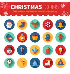 Circle flat Christmas and New Year icons set vector image