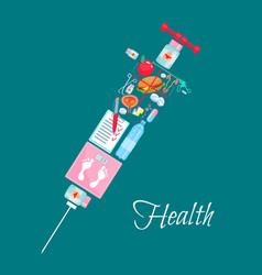 medical healthcare syringe poster vector image vector image