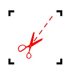 scissors sign red icon vector image vector image