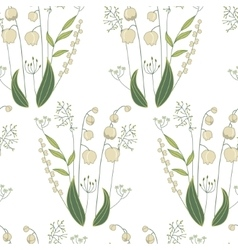 Seamless pattern with stylized cute lilies of the vector image vector image