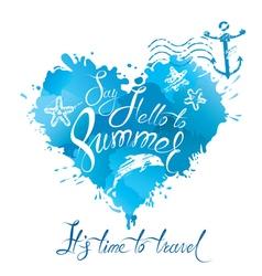 summer heart blue 380 vector image
