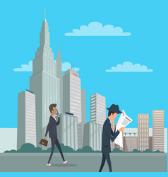 two gentlemen go on business downtown in new york vector image
