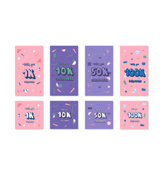1k 10k 50 k 100k followers cards vector image
