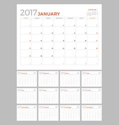 2017 calendar planner design template set 12 vector