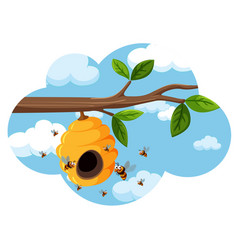 A beehive on the tree branch vector