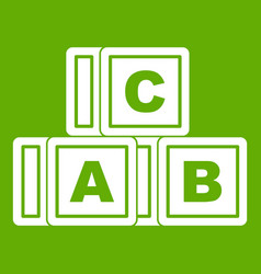 abc cubes icon green vector image