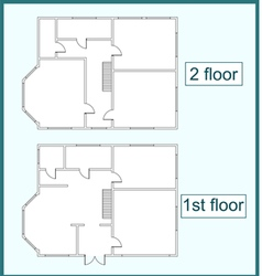 Abstract plan of the first and second floors vector