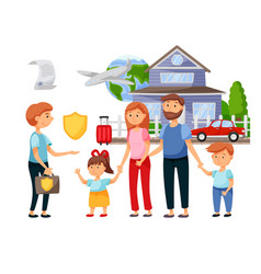 Agent offering travel and property family vector