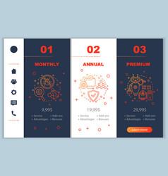 Anti virus subscription fee onboarding mobile app vector