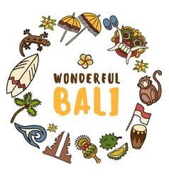 Bali icons set vector
