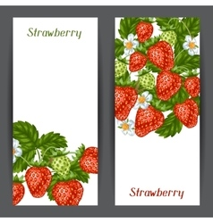 Banners with red strawberries of vector