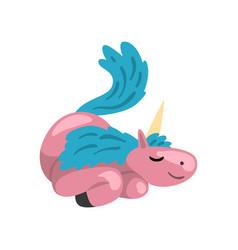 beautiful pink unicorn with blue mane magic vector image