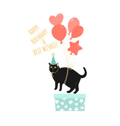 birthday greeting card template with a funny cat vector image
