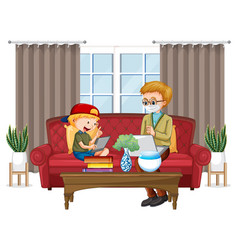 boy sitting on couch learning from tablet vector image