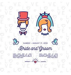 Bride and groom icons wedding invitation retro vector