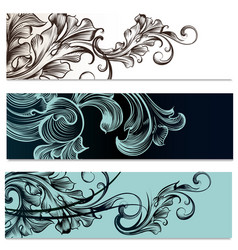brochures set with victorian ornament vector image