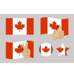 Canada flag icons set vector image vector image