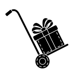 Cart with gift box present icon vector