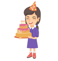 caucasian child holding birthday cake with candles vector image