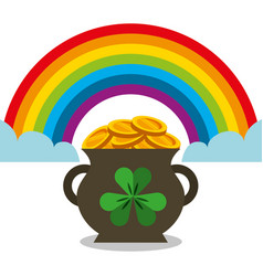 cauldron full gol coins rainbow magic vector image