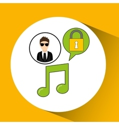 Character man protected digital music vector