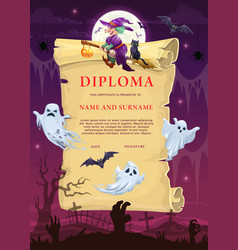 children diploma template with halloween vector image