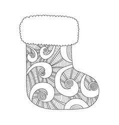 christmas stocking for gifts black and white vector image