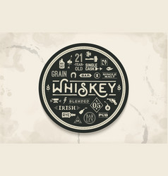 Coaster for whiskey and alcohol beverage vector
