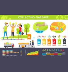 Collecting garbage and statistical charts set vector