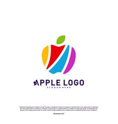 colorful apple logo design concept fruit apple vector image