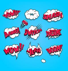 Comic book cartoon explosion set boom bang vector