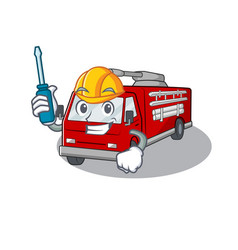 Cool automotive fire truck in cartoon character vector