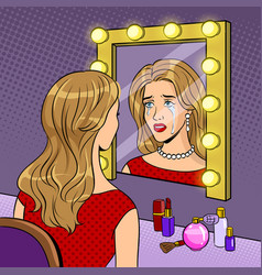 Crying actress woman near mirror pop art vector