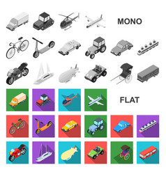 Different types of transport flat icons in set vector