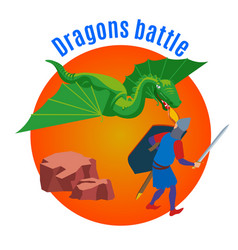 dragons battle round background vector image