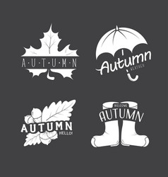 Et of autumn emblems with a leaf umbrella vector