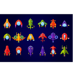 Fantastic spaceships set ufo and rockets in space vector