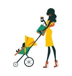 Fashion mom with baby in pram under umbrella vector