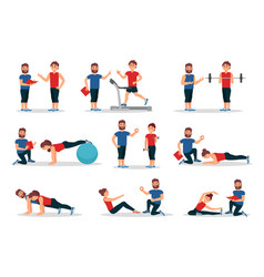 Flat set of people in gym with personal vector