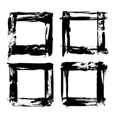 four frames of textured brush strokes black paint vector image